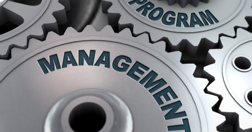 3d rendering of metal cogwheel gears concept of Program management