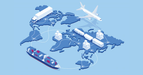 Global logistics network isometric illustration
