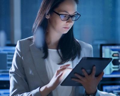 a woman analyzing data