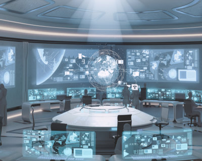 futuristic command center interior with people silhouettes