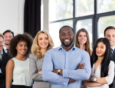 African American Businessman Boss With Group Of Business People In Creative Office