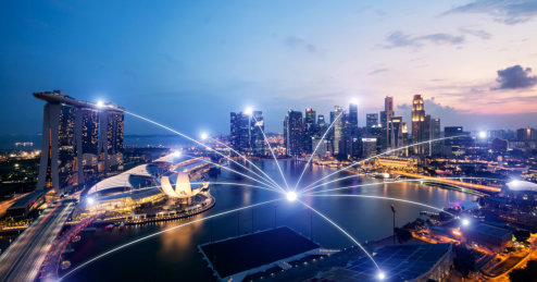 Network business conection system on Singapore smart city scape in background